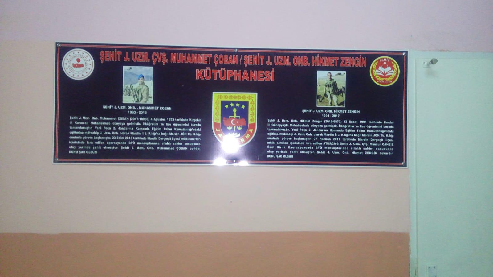 Şehit Jandarma Uzman Çavuş  Muhammet ÇOBAN ve Şehit Jandarma Onbaşı Hikmet ZENGİN Kütüphanesi